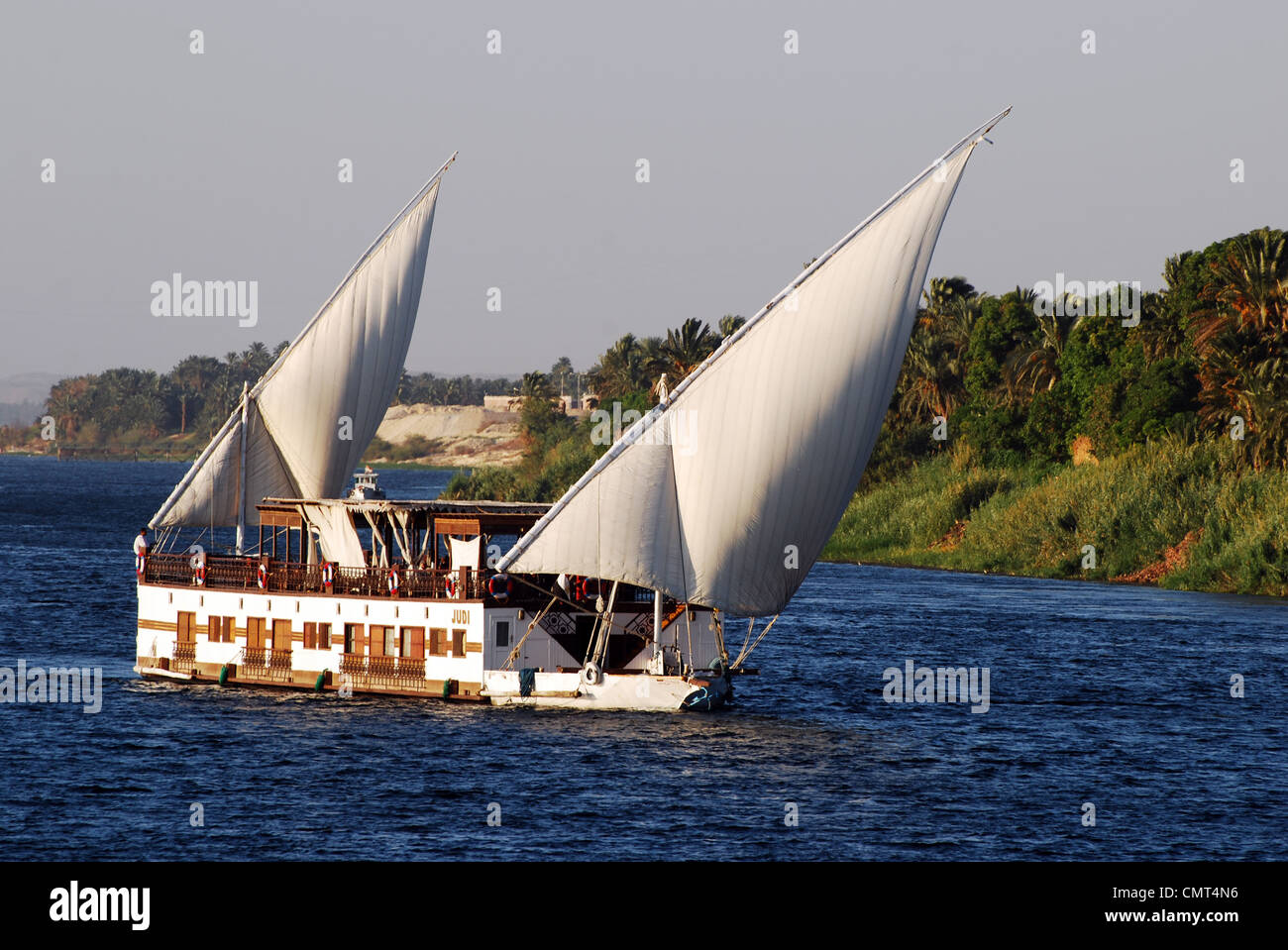Double sail motorised ship number 3077 Stock Photo