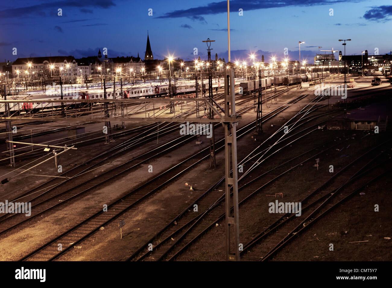 High angle view of railway tracks - Stock Image