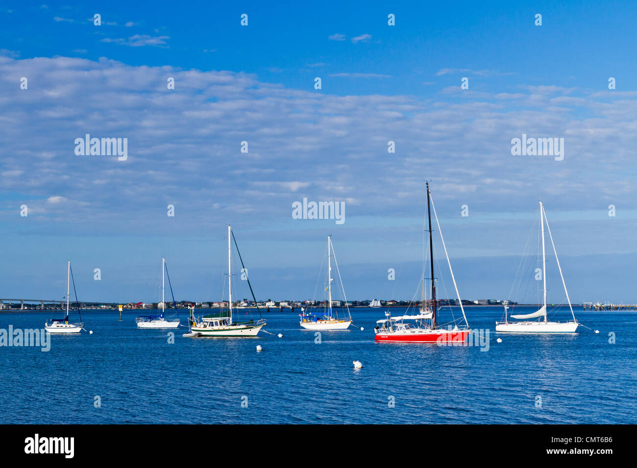 Sailboats anchored in the inter coastal waterway at St. Augustine, Florida, USA, America. - Stock Image