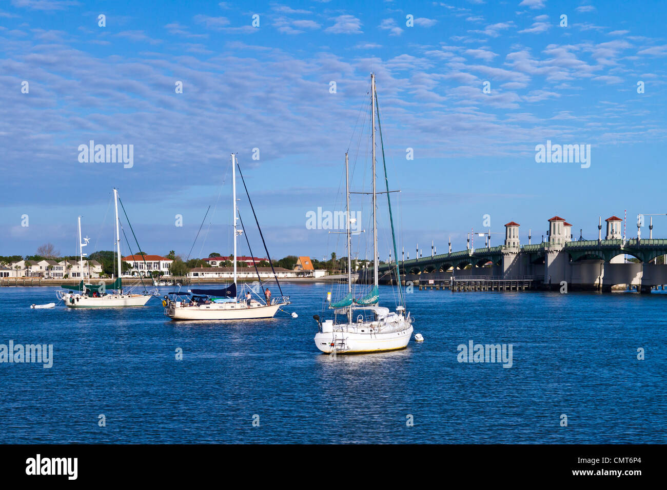 The inter coastal waterway and the Lions Bridge at St. Augustine, Florida, USA, America. - Stock Image