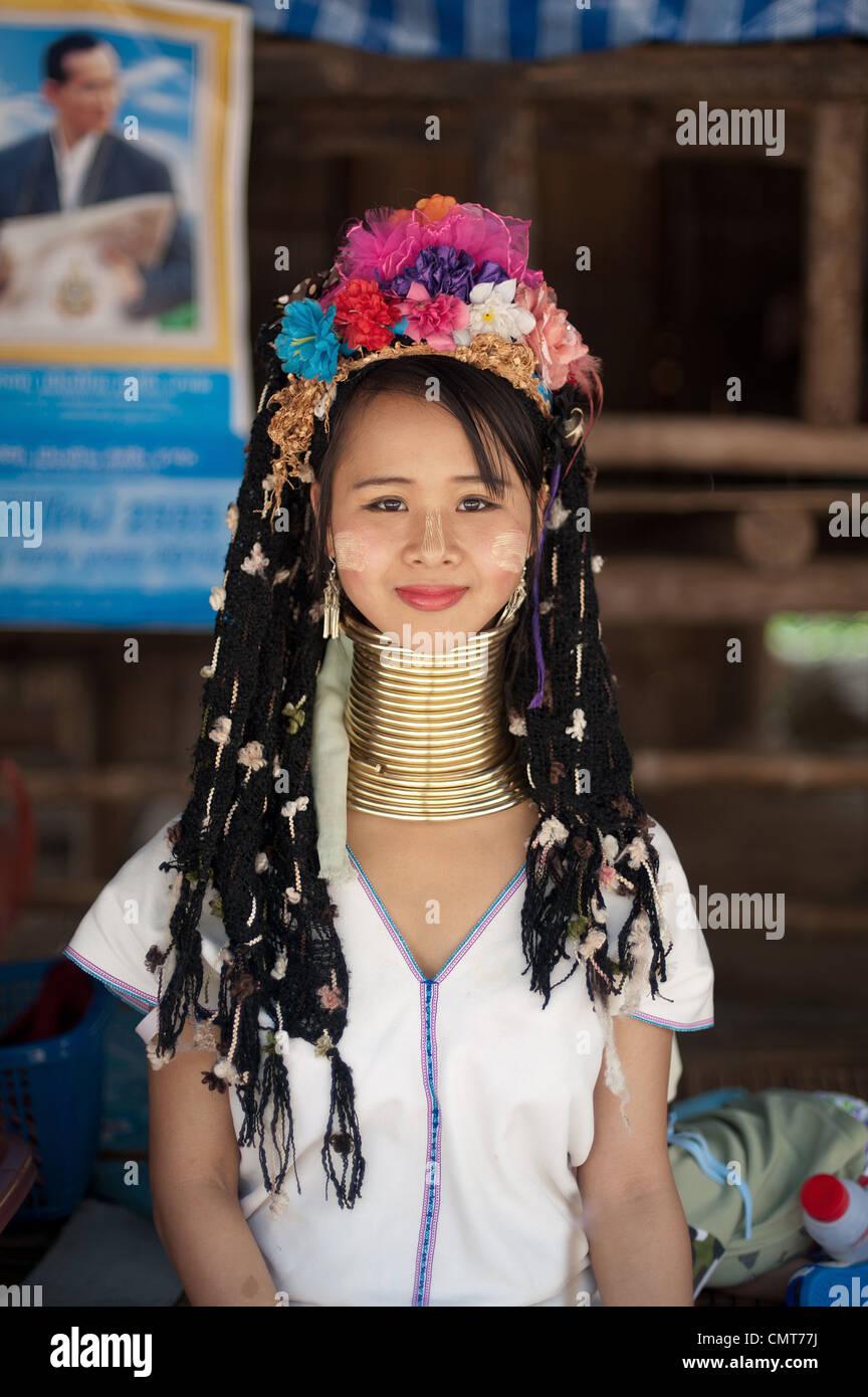 Karen Long Neck Hilltribe. Thailand. - Stock Image