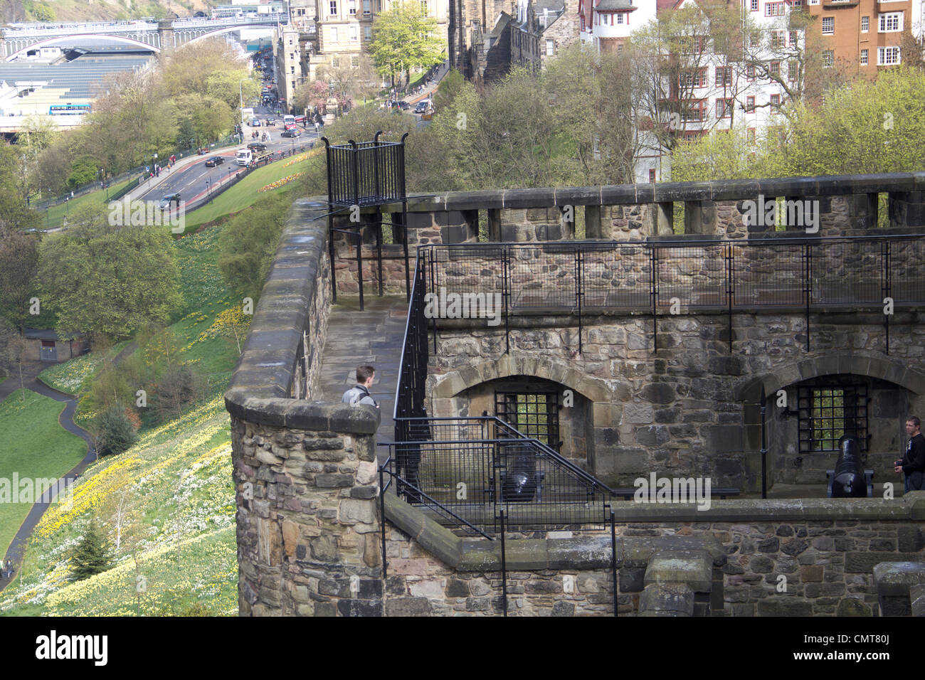 tourists at edinburgh castle this is one of the upper and outer parts of the castle and the steep slope to the side is seen