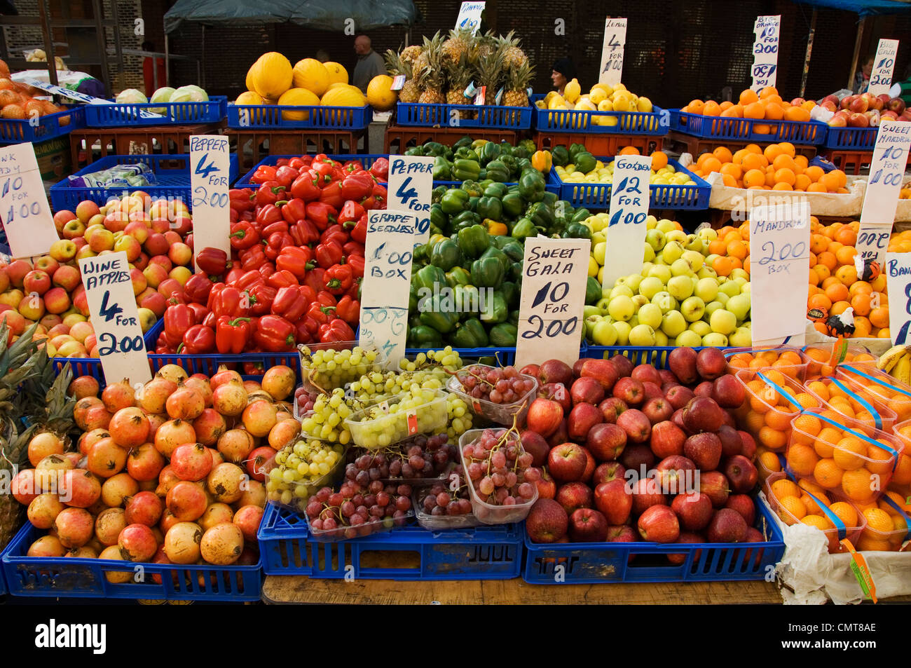 The famous Moore Street fruit and vegetable market in Dublin City center, Ireland - Stock Image