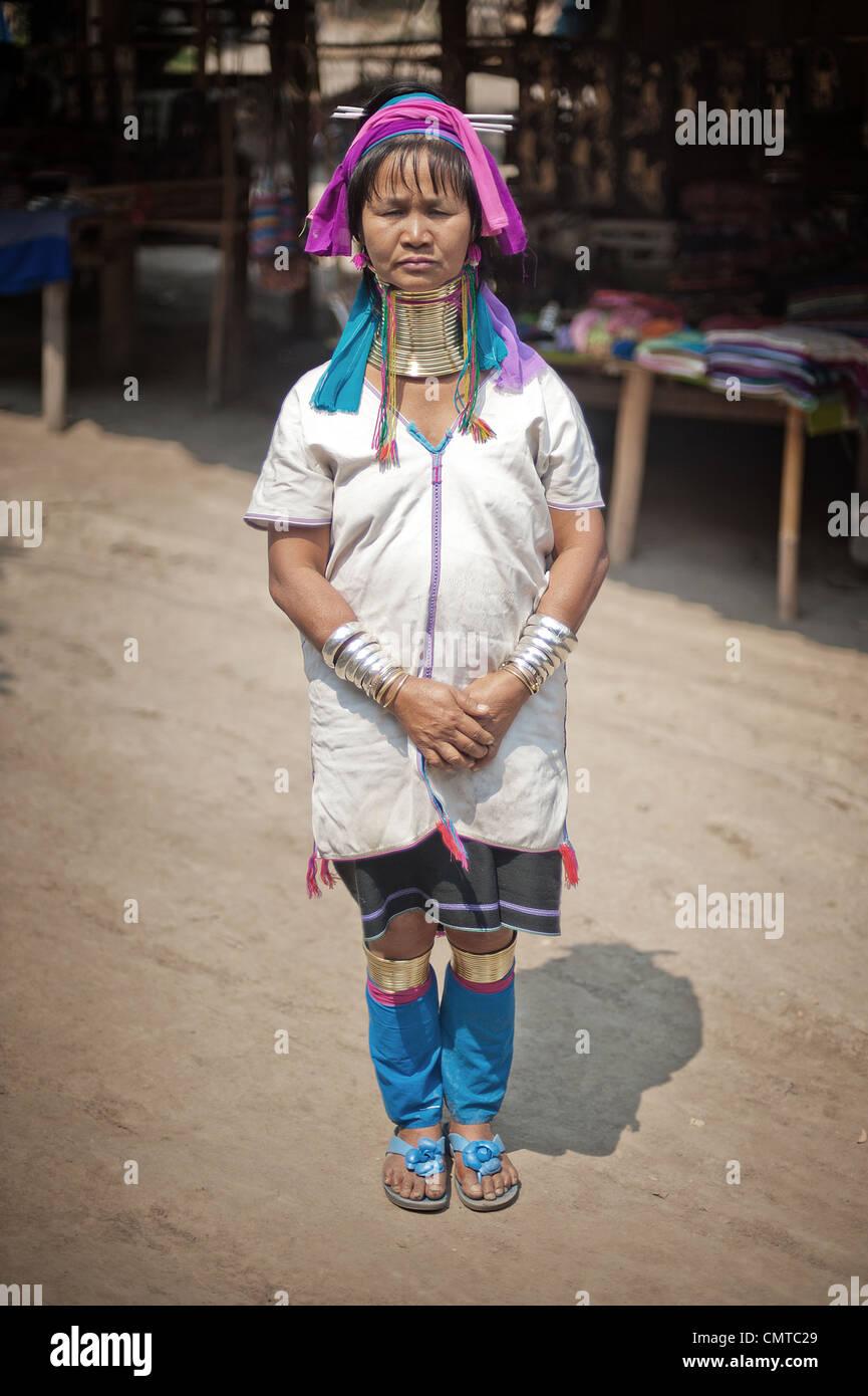 Karen Long Neck Hilltribe. Thailand. Stock Photo