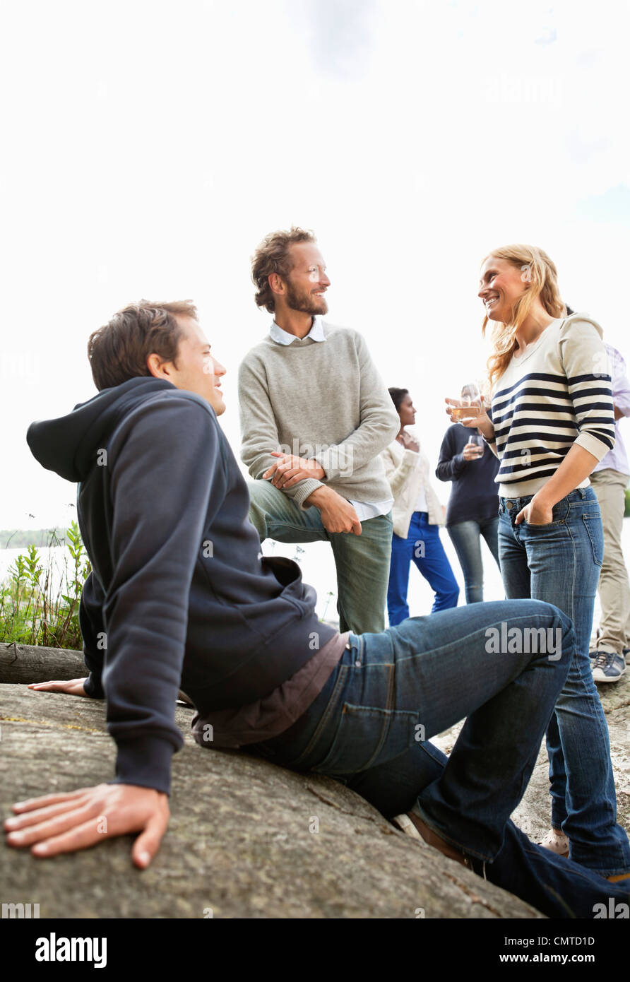 Friends at archipelago - Stock Image