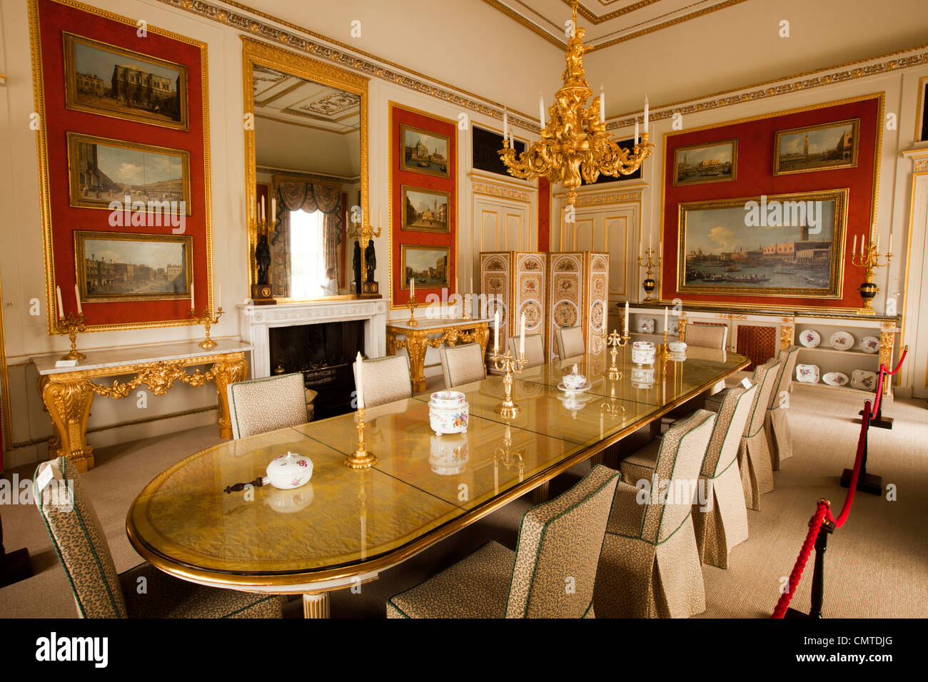 Mansion Dining Room Uk England Bedfordshire Woburn Abbey Interior The