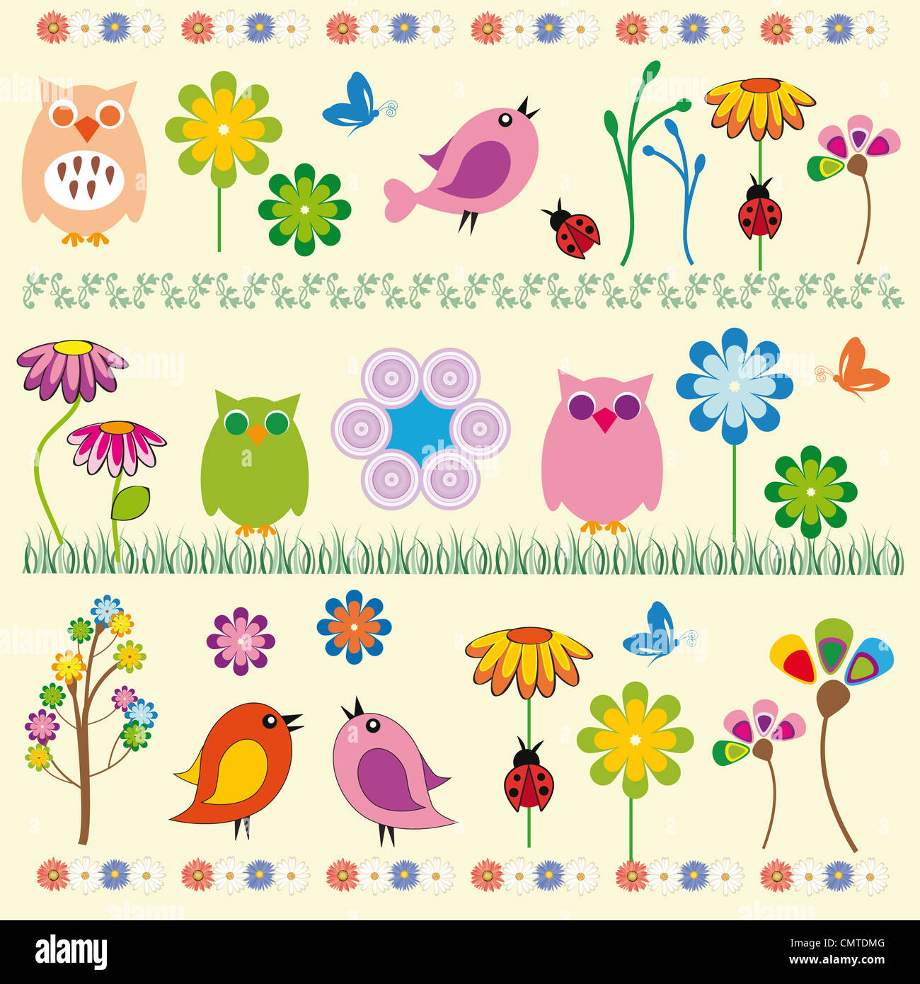 Cute kids background with flowers and birds - Stock Image
