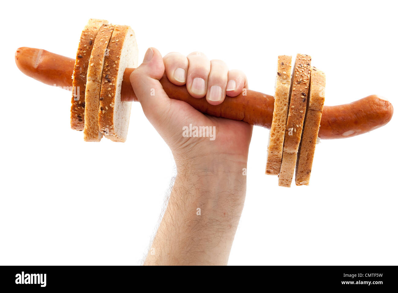 dumbbell made with sausage and bread on white - Stock Image