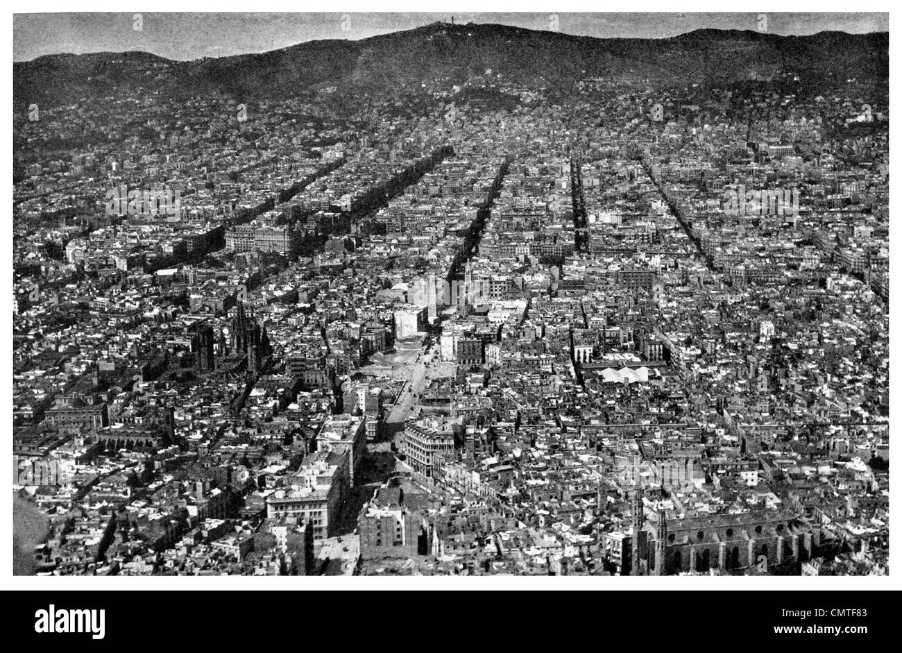 1925 Barcelona City aerial view - Stock Image
