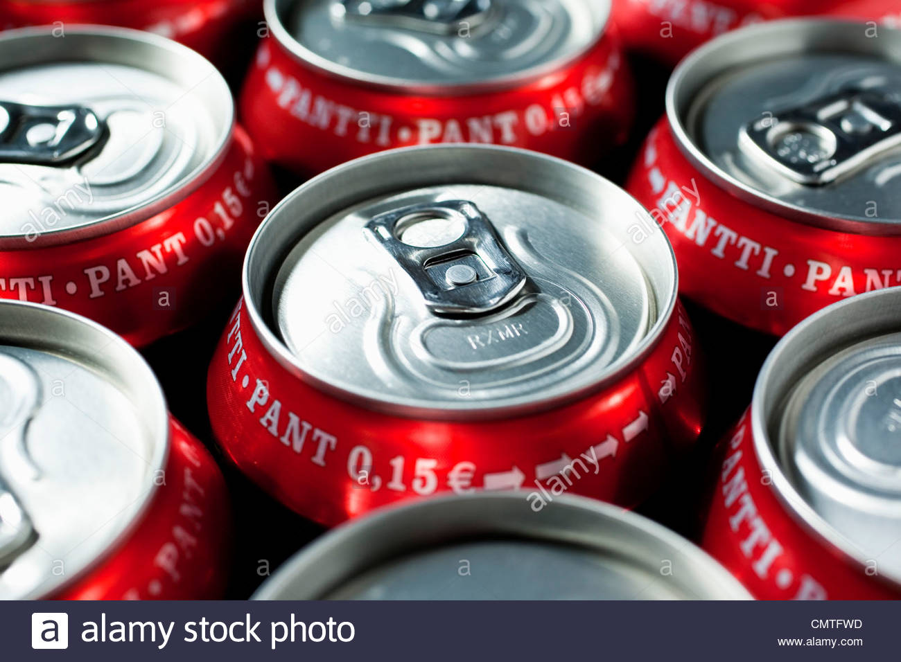 Close-up of unopened pop-cans - Stock Image