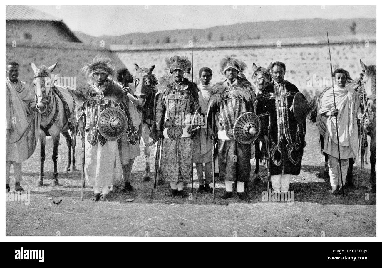 1925 Four Abyssinian Nobles with servants now Ethiopia - Stock Image