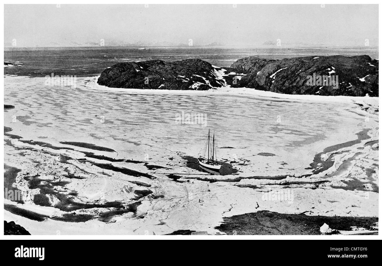 1924 July 1 Midsummer The Schooner Bowdoin in Refuge Harbor Greenland - Stock Image