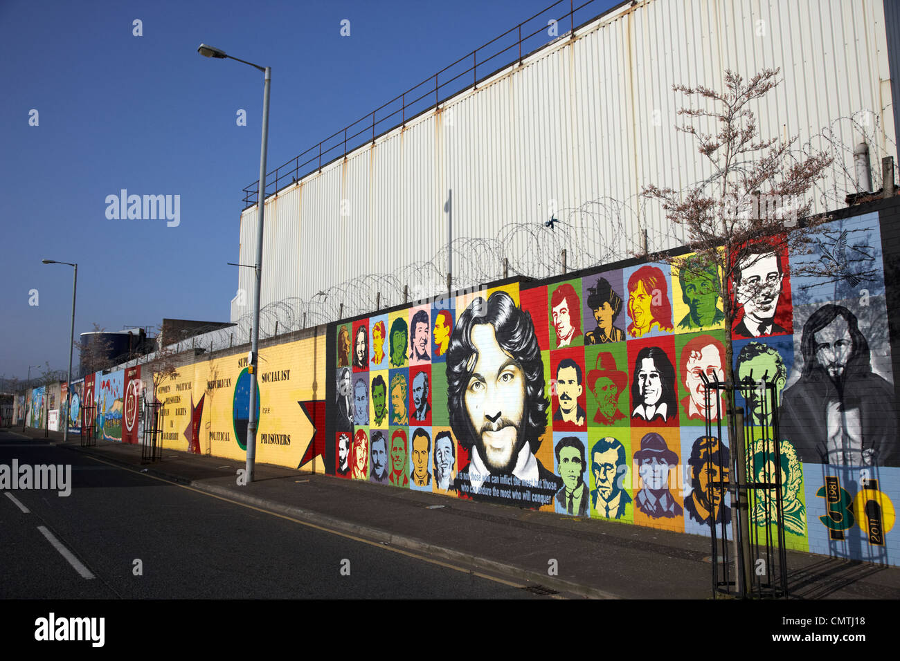 irish republican and hunger strike wall murals on northumberland street off lower falls road belfast northern ireland - Stock Image