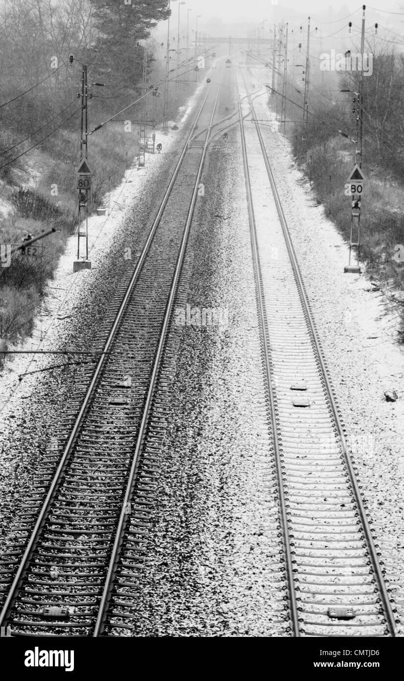 Snowy railroad - Stock Image