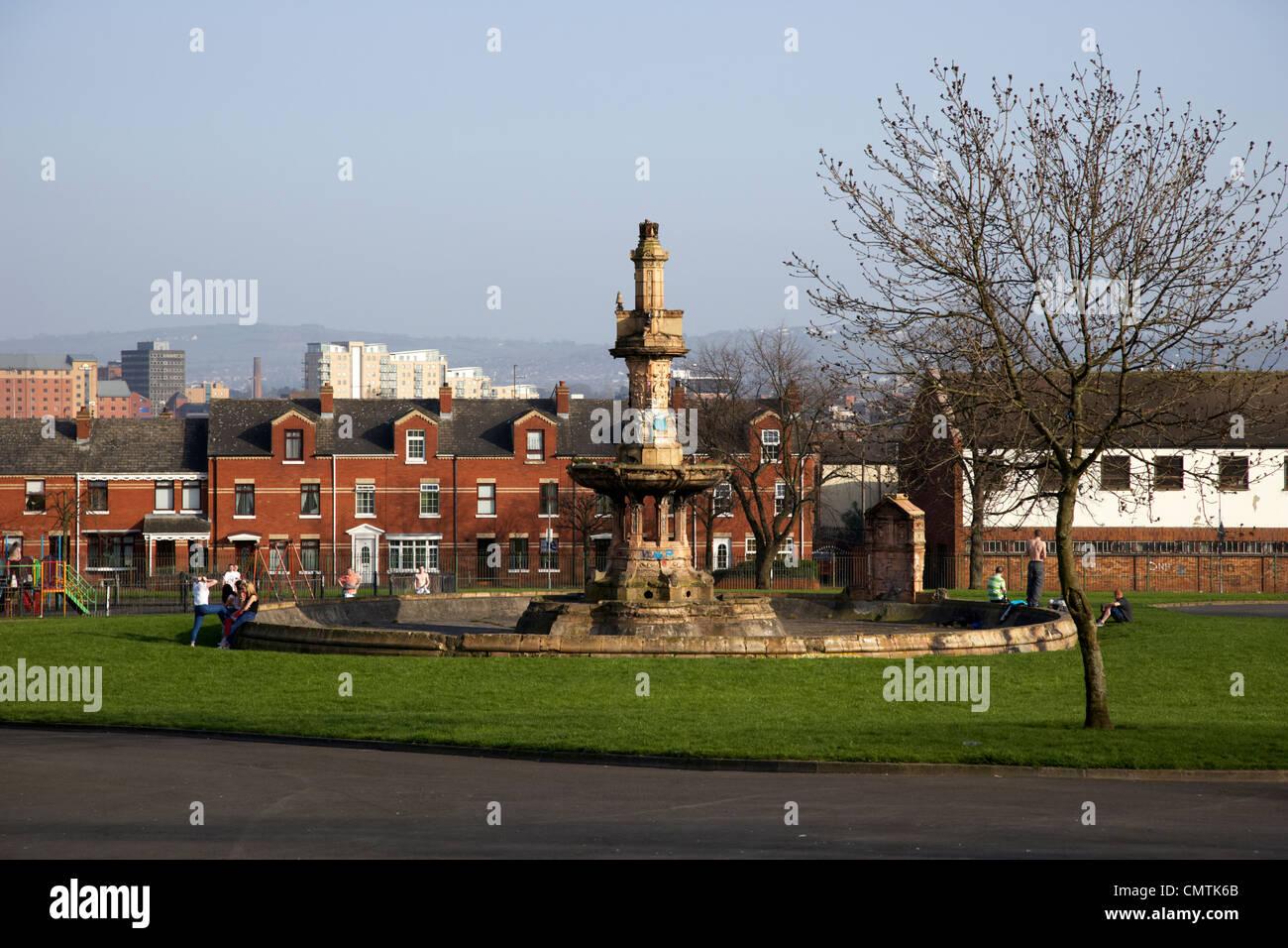 victorian fountain in dunville park lower falls road area gaeltacht quarter belfast northern ireland uk - Stock Image