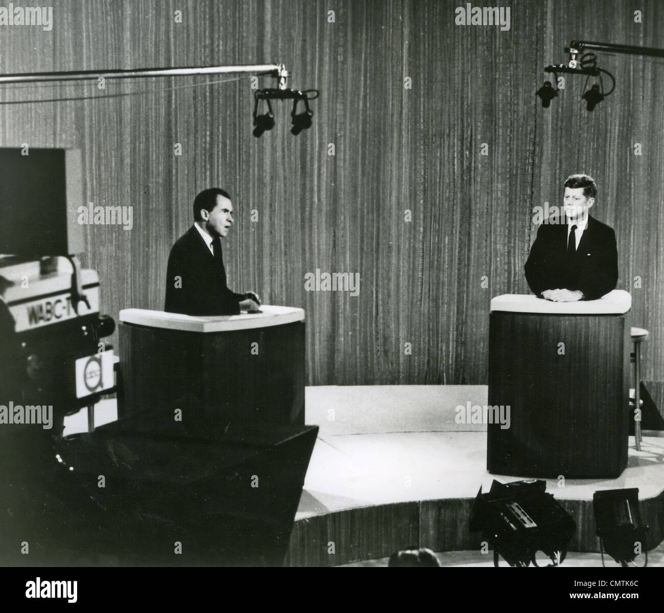 JOHN F KENNEDY (at right) and RICHARD NIXON  during their TV  Presidential debate in October 1960 - Stock Image
