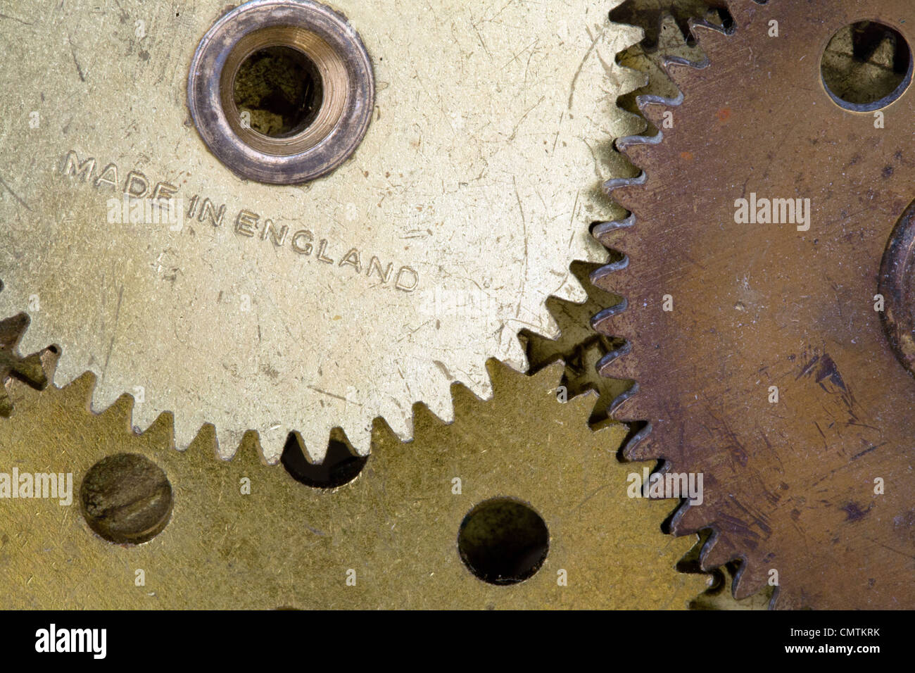 Gears in close up inscribed with Made In England - Stock Image