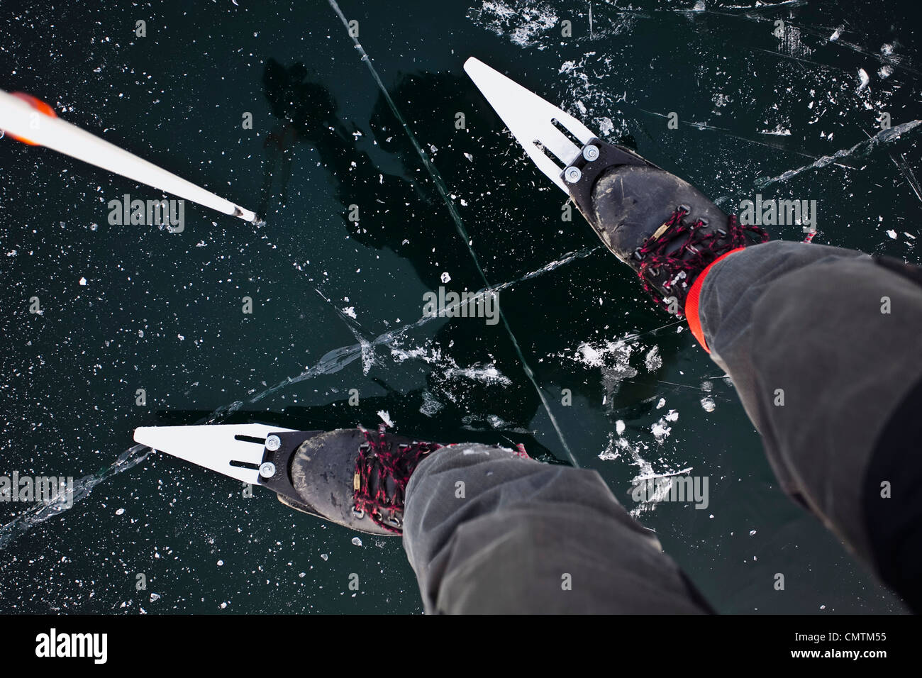 Low section of long distance skater - Stock Image