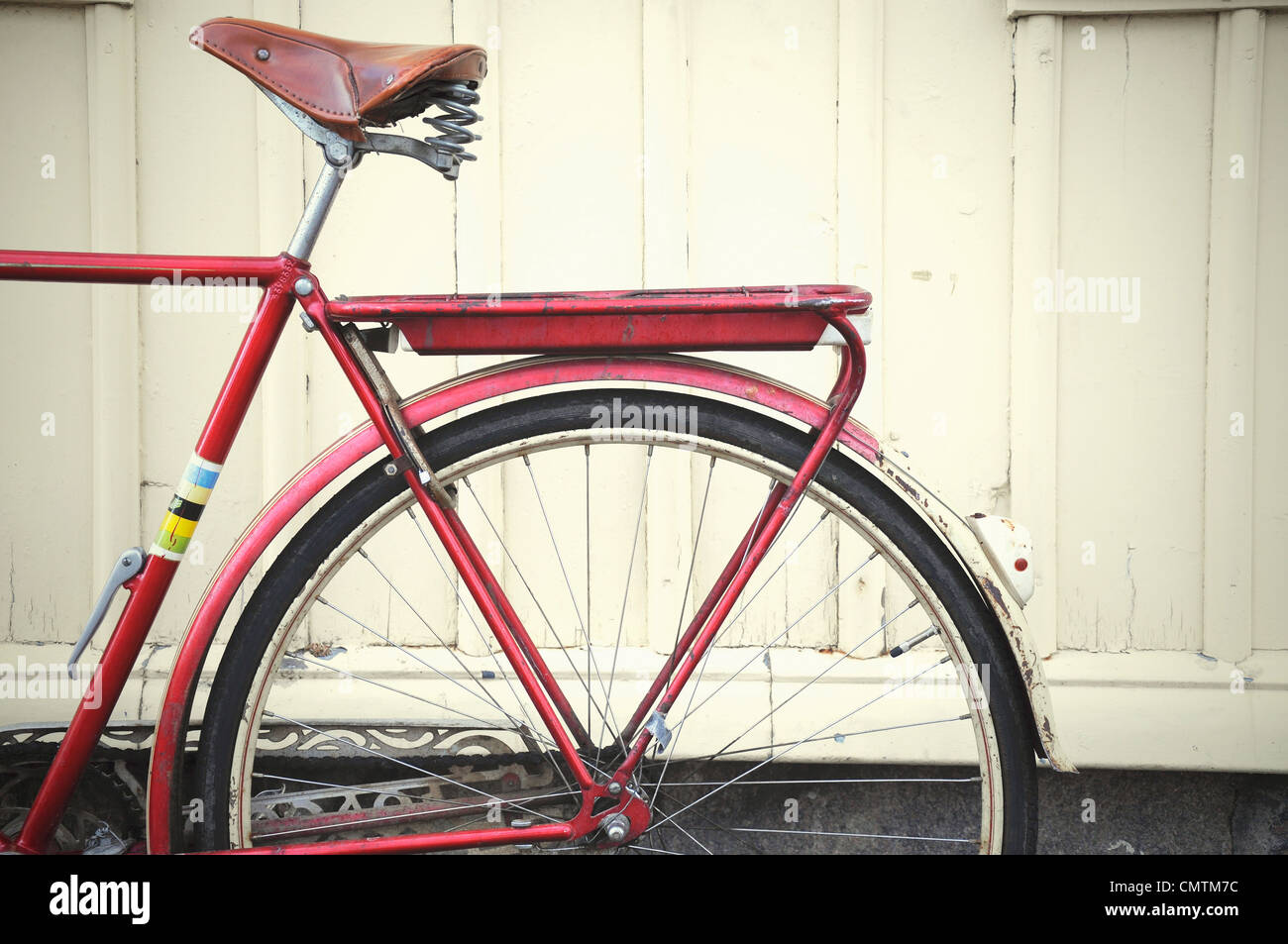 Close-up of red bicycle - Stock Image