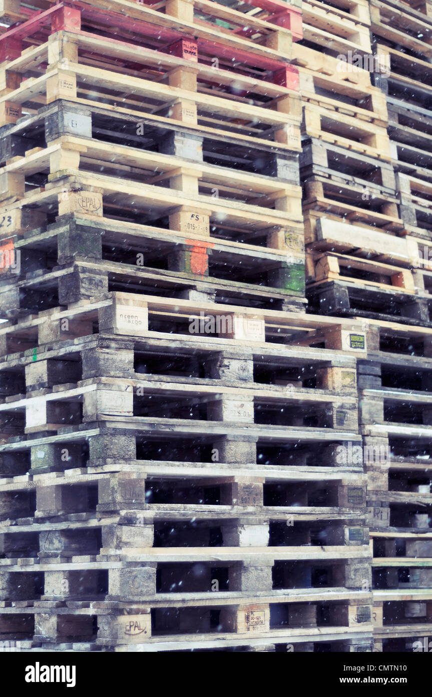Full frame of stacked pallets - Stock Image