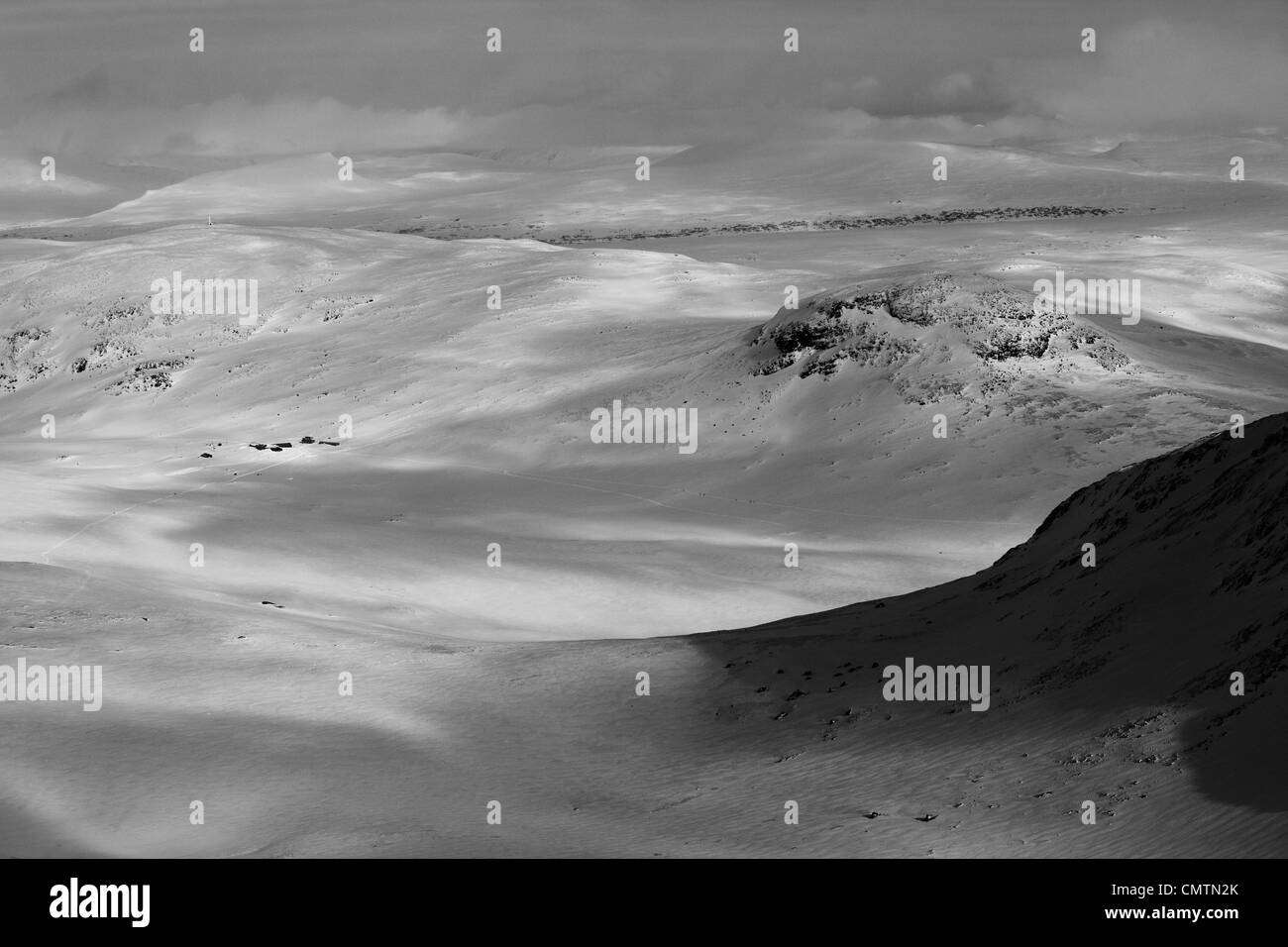 Land covered with snow (B&W) - Stock Image