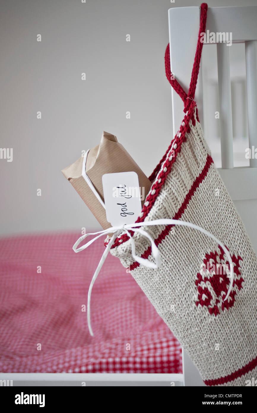 Close-up on Christmas stocking - Stock Image