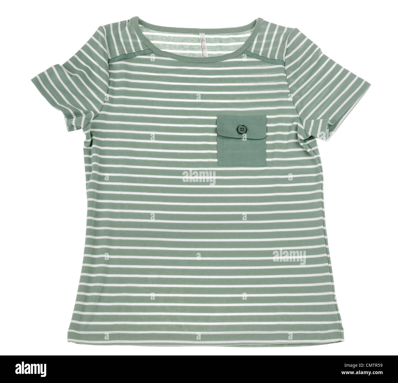 ladies green and white striped short sleeved cotton tee shirt - Stock Image