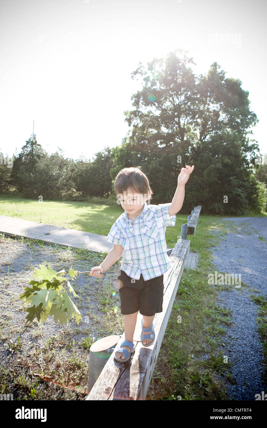 Two year old boy walking on a narrow wooden rail beam holding a tree branch, Kingston, Ontario Stock Photo