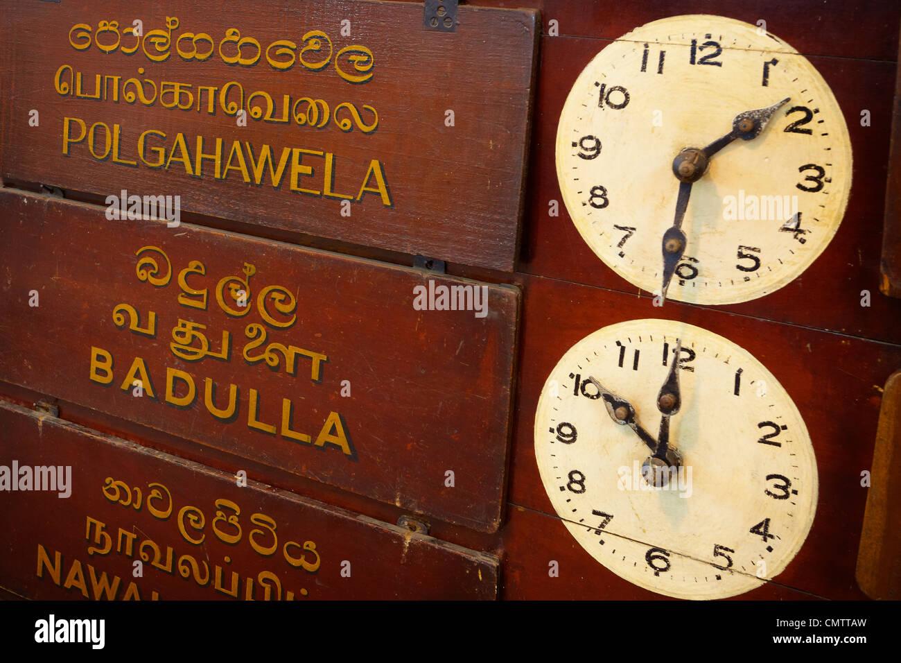 Clocks in the train station, Sri Lanka, Kandy, - Stock Image