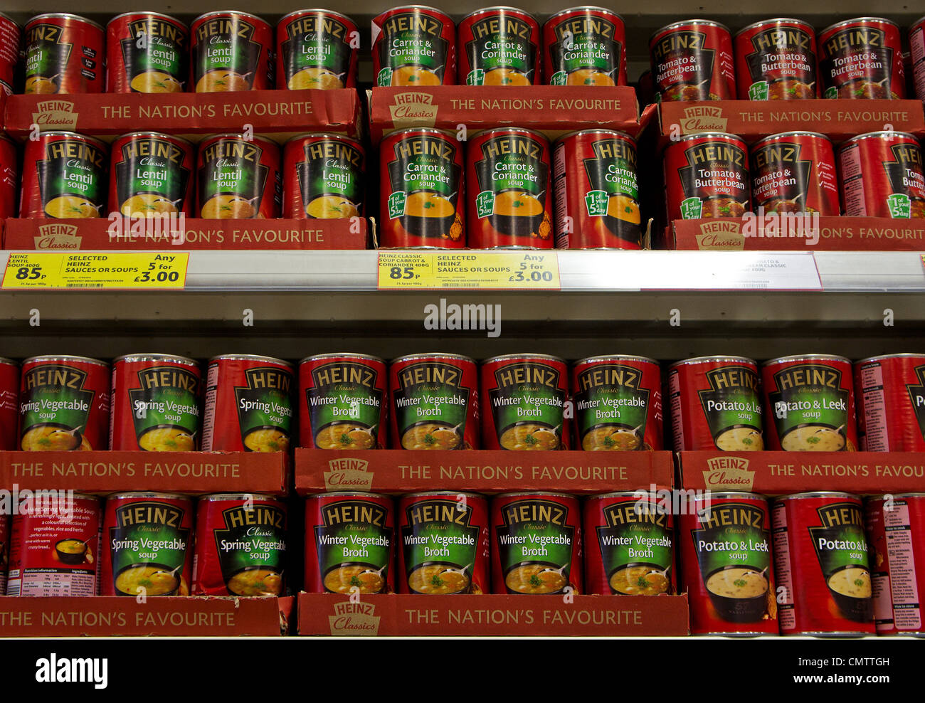 Tins of Heinz soup in a UK supermarket - Stock Image
