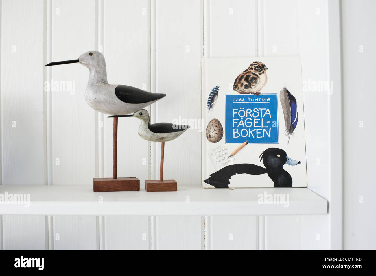 Close-up of artificial birds and book on shelf - Stock Image