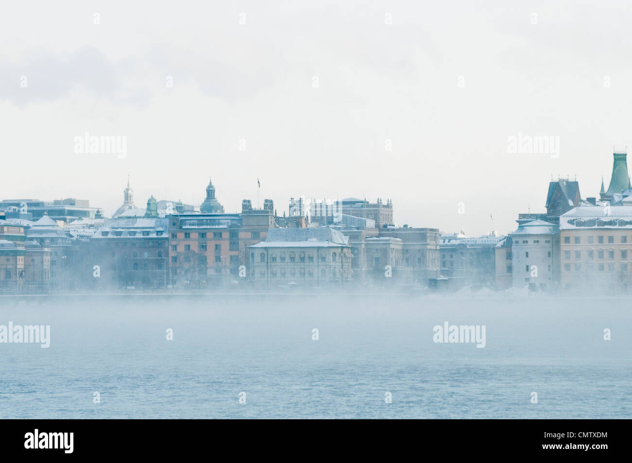 City view with mist - Stock Image