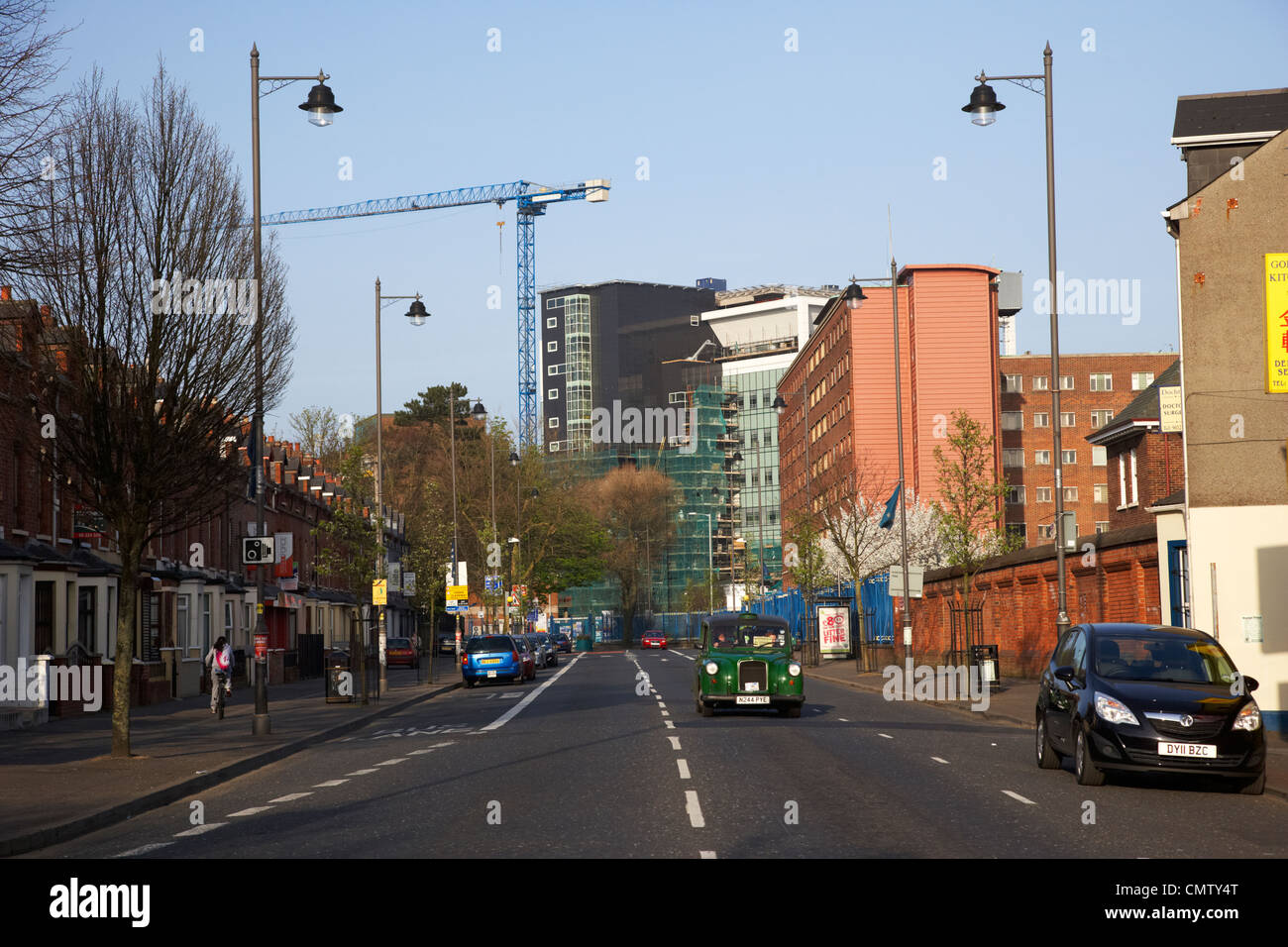 falls road and the royal victoria hospital west belfast northern ireland uk - Stock Image