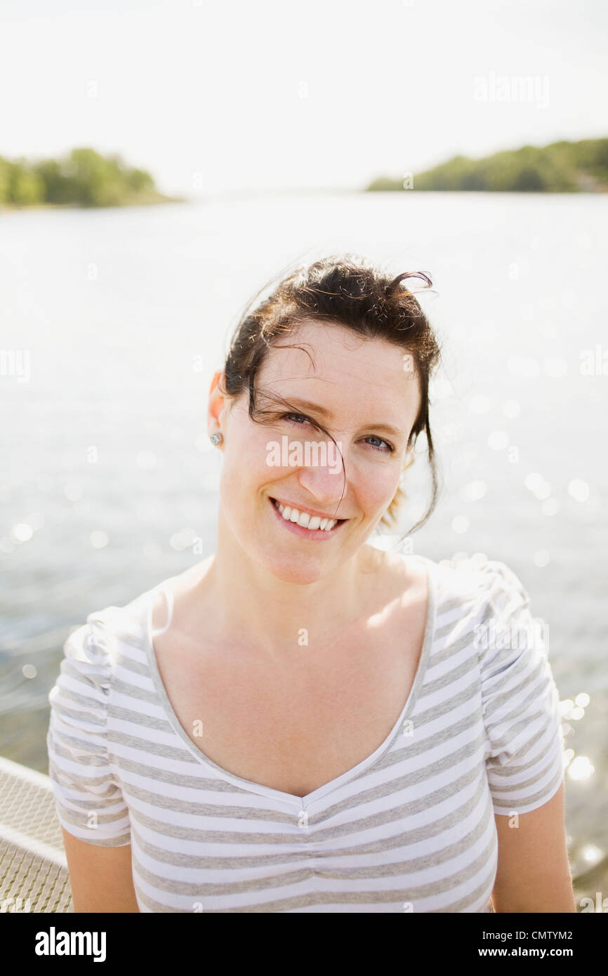 Portrait of women in backlight - Stock Image