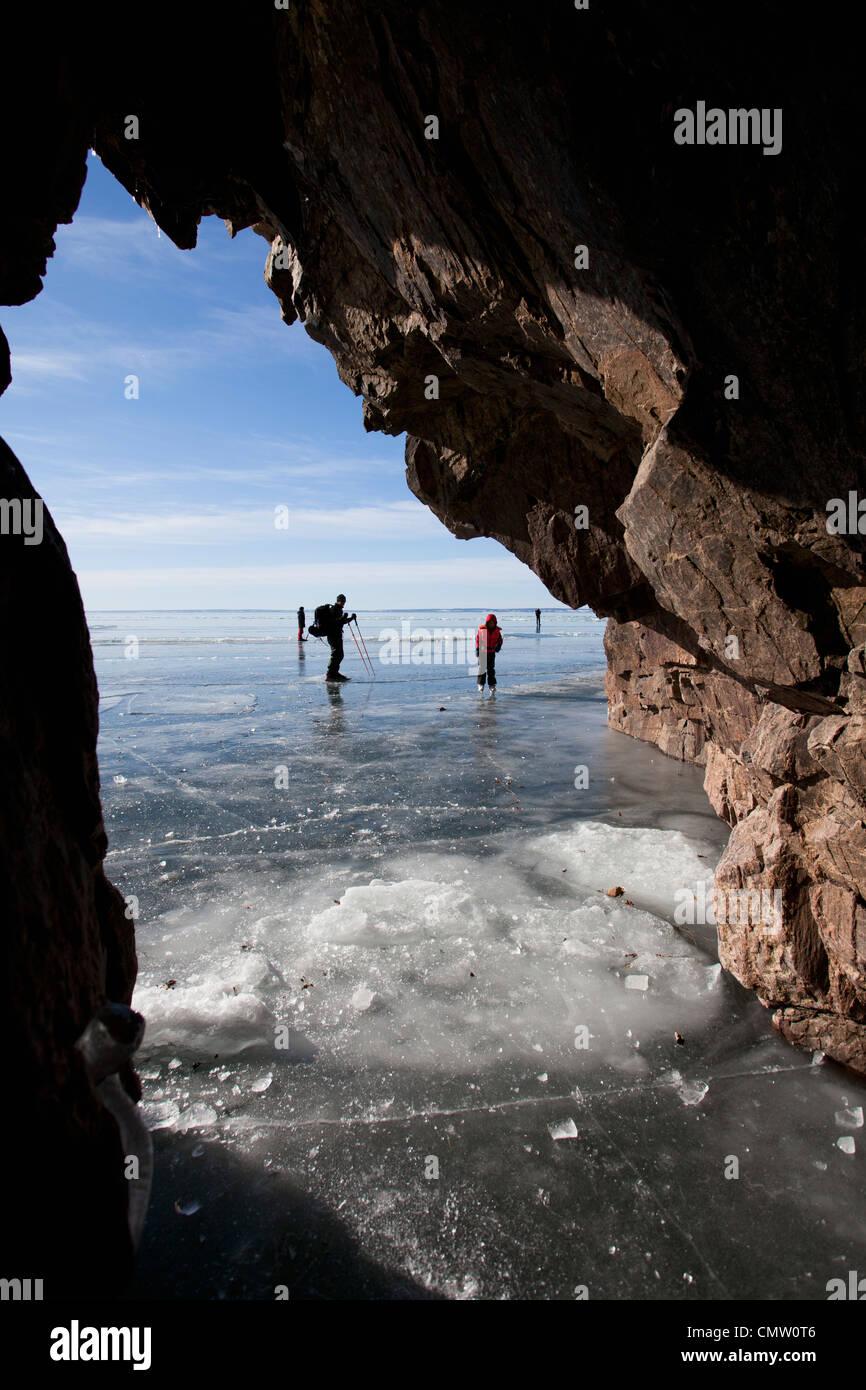 People skating on ice Stock Photo