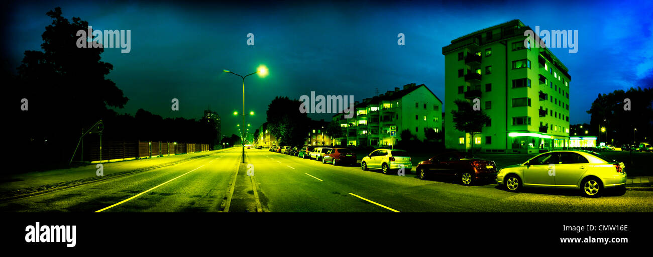 Panorama view of city district - Stock Image