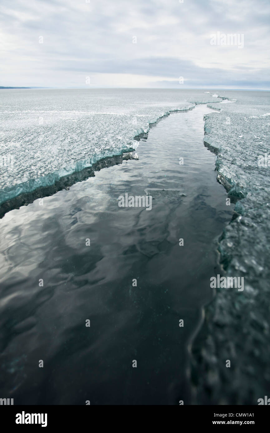 Cracked ice lane - Stock Image