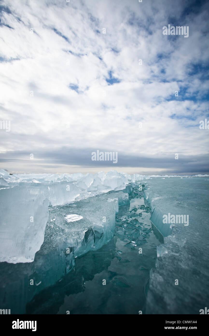 Close up of Glacier crevasse - Stock Image