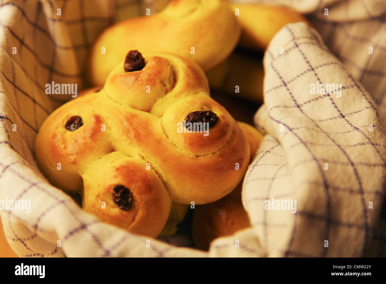 Close-up of Lucia buns in basket - Stock Image