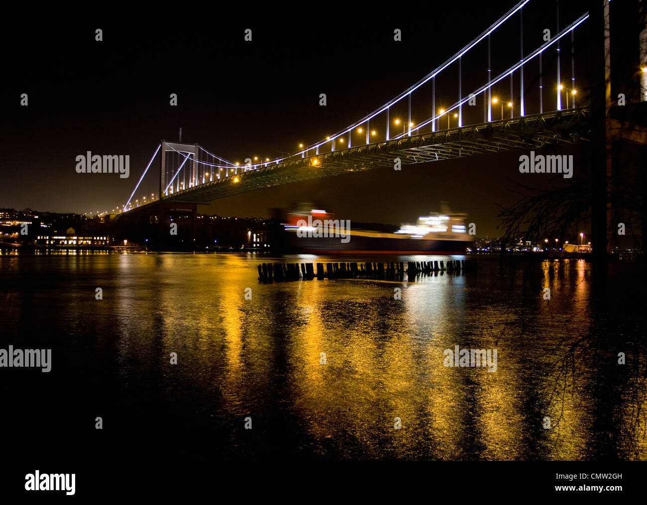 Illuminated bridge in Gothenburg at night - Stock Image