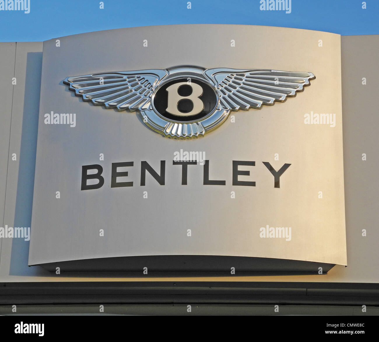 The Bentley car company trade mark on a garage EDITORIAL USE ONLY Photographed as part of a car sales building from - Stock Image