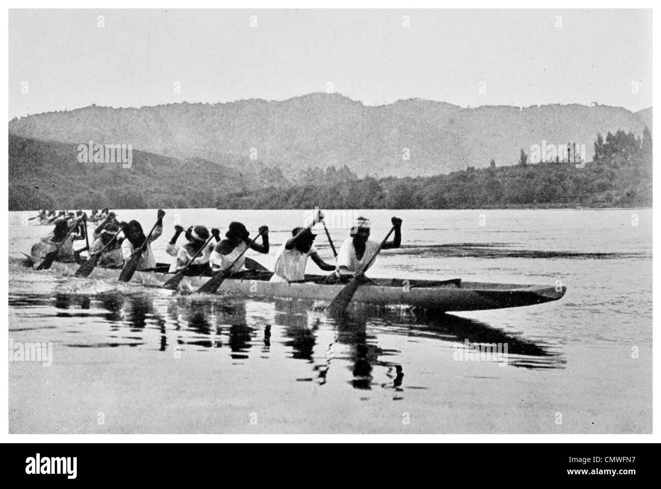 1925 Maori Women's Canoe Race Ngaruawahia Waikato region of the North Island of New Zealand - Stock Image