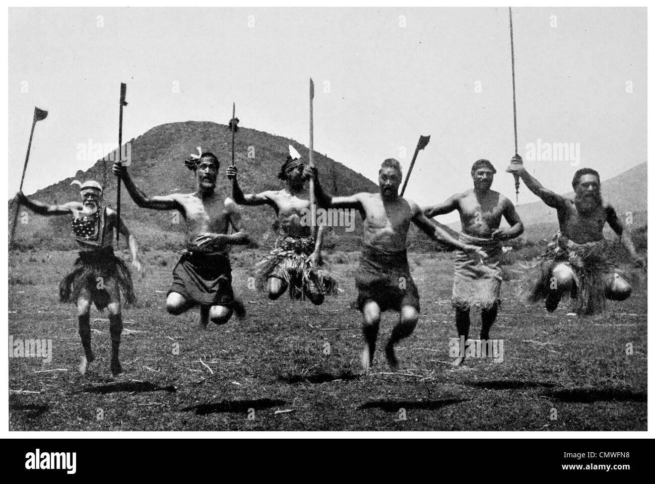 1925 Maori Warriors Rehearsing A Haka Dance New Zealand