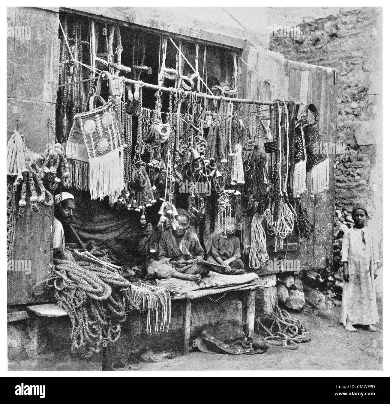 1925 Harness rope makers shop in Caro Egypt - Stock Image