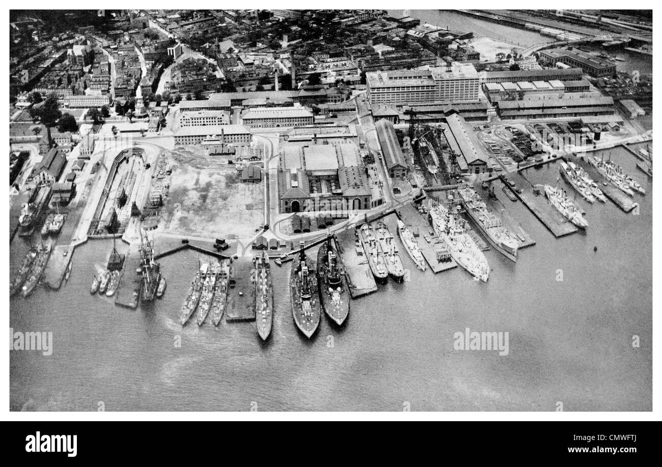 1925 Charlestown Navy Yard Boston Massachusetts dry dock - Stock Image