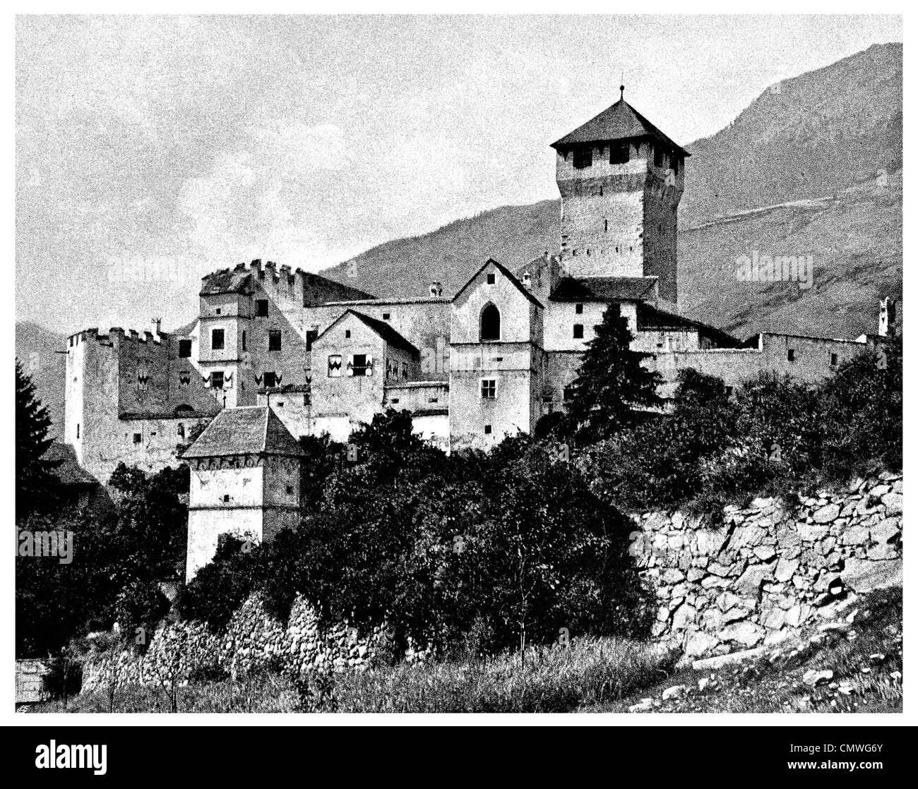 1905 Tirol Castle Merano Sud Tirol Italy - Stock Image