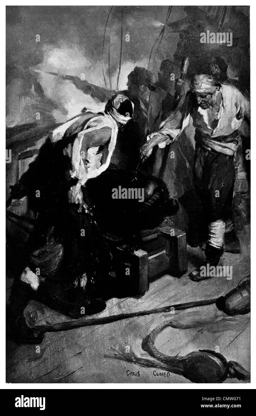 Cannon shot 24 gun battery - Stock Image
