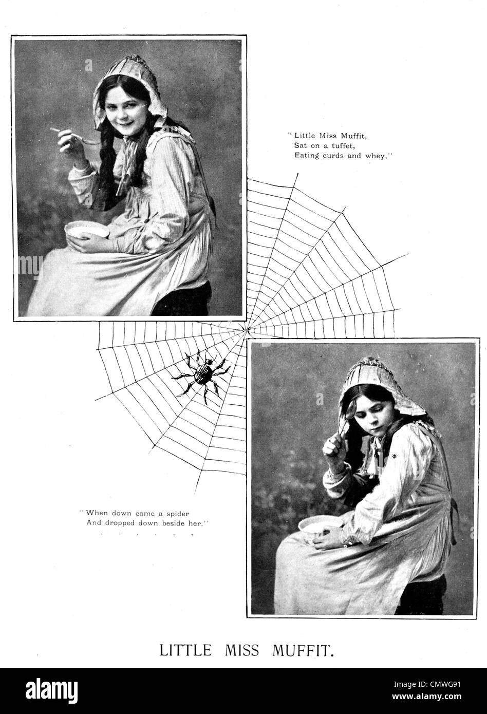 1905 Little Miss Muffit Spider web Stock Photo