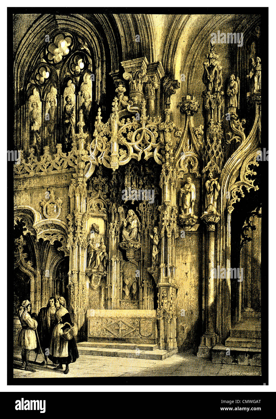 1904 Spanish Cathedral interior - Stock Image