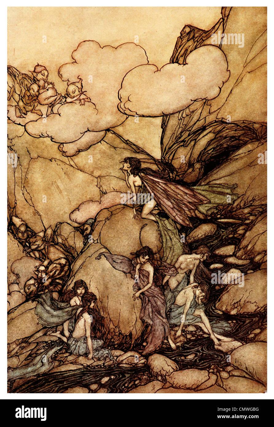 Arthur Rackham Rip Van Winkle fairy tale - Stock Image